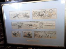 "LARGE 31"" X 22.5"" FRAMED ANTIQUE PRINTS WYCHDALE STEEPLECHASE R CALDECOTT"